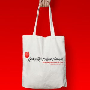 Gabe's Red Balloon Foundation - White tote bag - back